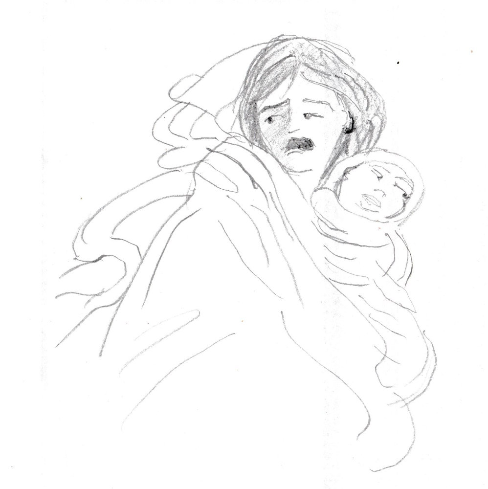 Drawing of a woman fleeing with a baby