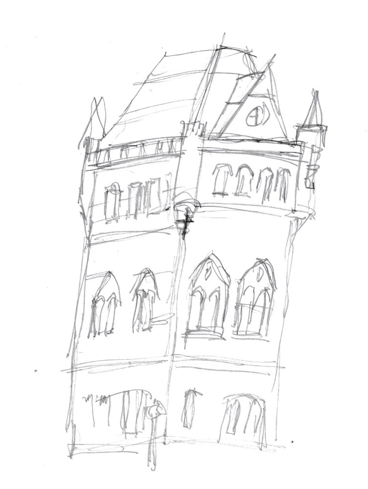 Drawing of a tower